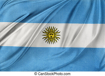 Flag - Closeup of silky Argentinian flag