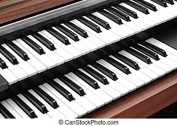 piano keyboard - double keyboard piano closeup