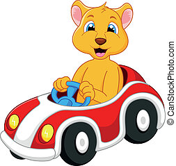 Lion cartoon driving car