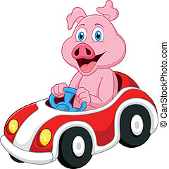 Pig cartoon driving car