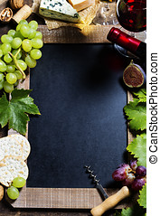 Wine and grape background with space for text