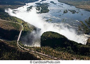 Victoria Falls - Spectacular arial view of victoria falls...