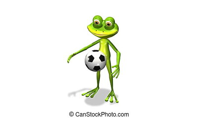 soccer player frog - animation merry soccer player frog with...