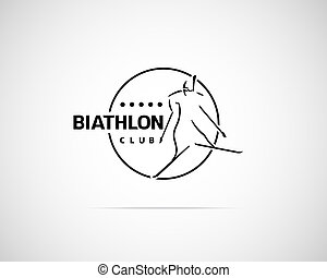 Biathlon Emblem - Abstract Vector Biathlon Emblem Creative...