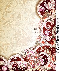 Abstract Floral Scroll Background