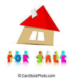 House For Sale Paper Icon Isolated on White Background
