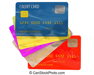 Colorful credit cards top view on white background