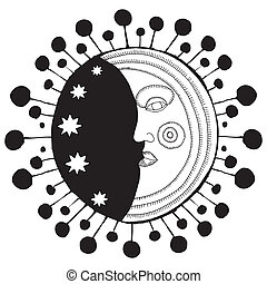 moon face decorative black and white