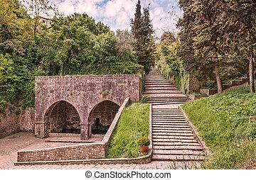 antique fount in Volterra, Italy - antique Fonte di Docciola...