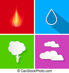 Four Elements Illustration Fire, Water, Air and Earth