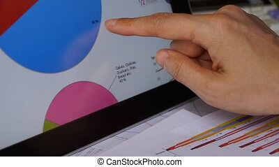 Businessman working on tablet with diagrams,finger touching...