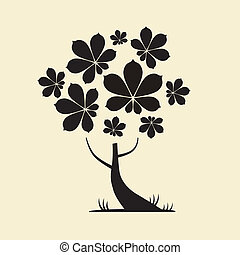 Abstract Vector Tree Silhouette with Chestnut Leaves