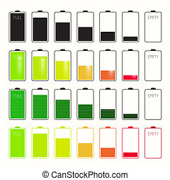 Battery Life Icons Set Set Isolated on White Background
