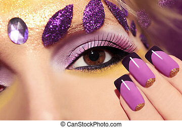 Purple makeup and nails . - Purple makeup and nails with...