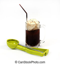 Root beer float with scoop isolated on white background