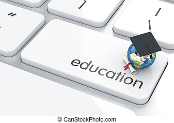 Education concept - 3d render of graduation cap icon on the...