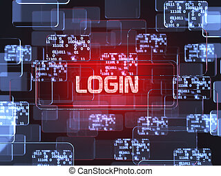 Login screen concept - Future technology smart glass red...