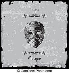 Masque illustration on gray background with black frame