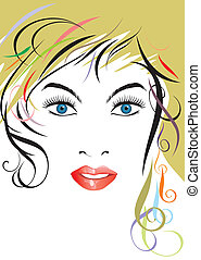 Hairstyle - Vector file of beautiful hairstyle lady face