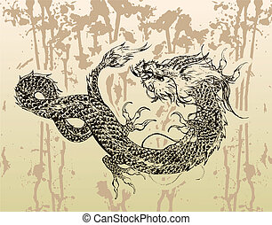 Chinese Dragon Tattoo with Ink Bg