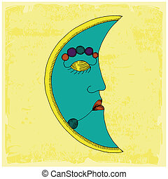 Moon face on yellow background