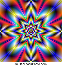 Red Blue and Yellow Star - A digital abstract fractal image...