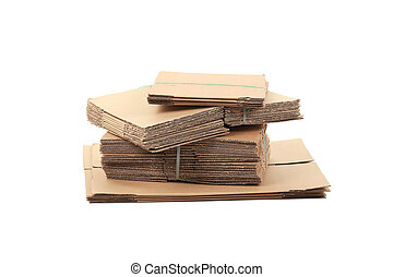 Cardboard closed in stack.
