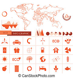 orange ecology information graphics - Ecology, recycling...