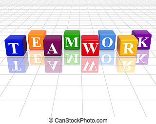colour teamwork - 3d colour cubes with text - teamwork,...