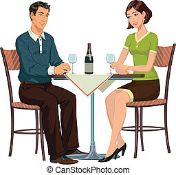 meeting in the cafe - young girl and young man sitting in a...