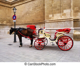 Red Cart with horse in Spain, Mallorca - Red Cart with brown...