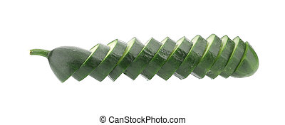 Slices of cucmber. Isolated on a white background.