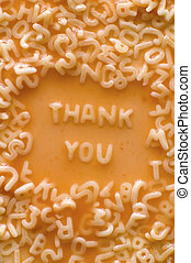 thank you - THANK YOU text made of pasta letters, ketchup...