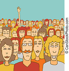 Standing out in the crowd - Cartoon illustration of a man...