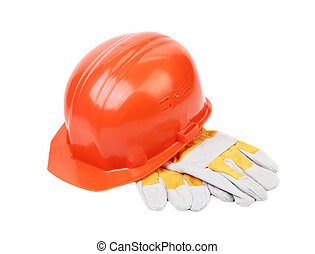 Red hard hat with leather gloves.