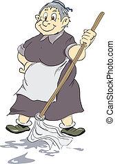 Merry old cleaning lady - Merry old charwoman with mop...