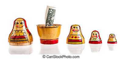 Dollar within Matryoshka - Russian doll with dollars inside...