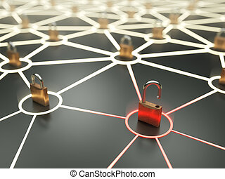Critical network vulnerability concept - Insecure nod in...