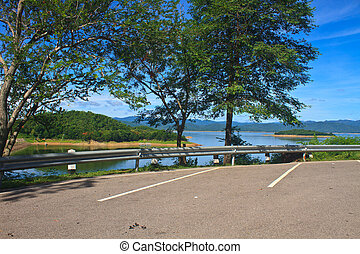 car parking on Dam background