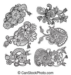 set of embroidery patterns