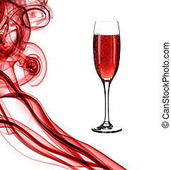 Red smoke and champagne.