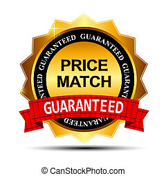 Price Match Guarantee Gold Label Sign Template Vector...