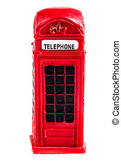 Telephone booth - a typical red english phone booth isolated...