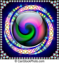background rainbow circle with precious stones on a spiral