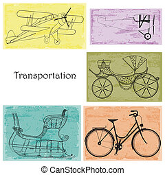 Transportation: bicycle, carriage,