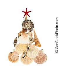 Christmas tree made of seashells isolated over the white...