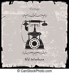Vintage phone with black frame