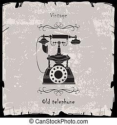 Vintage phone with black frame