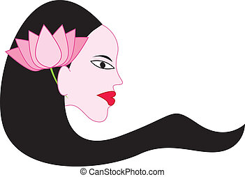 Girl with Lotus on hair