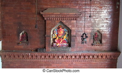 historical temple wall, India - historical temple wall with...